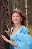 Girl in medieval dress in autumn wood Royalty Free Stock Photography