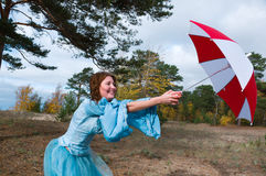 - girl in medieval dress with umbrella Royalty Free Stock Photos