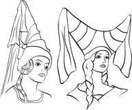 Girl in medieval hat, two portraits, sketch Royalty Free Stock Photography