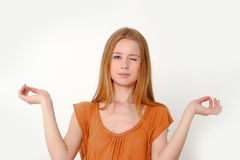 Girl meditates Stock Image