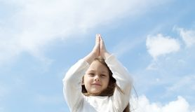 Girl meditates Royalty Free Stock Photos