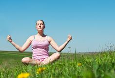 Girl meditates Stock Photography