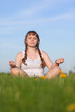 The girl meditates Royalty Free Stock Photo