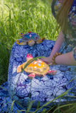 Girl meditates on the nature with the turtles Royalty Free Stock Photography