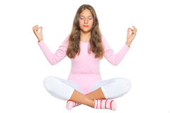 Girl meditates Royalty Free Stock Photography