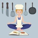 Girl meditating before cooking vector cartoon. Girl meditating before cooking - funny vector cartoon illustration Stock Photos
