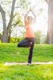Girl meditating and doing yoga at sunset Stock Image