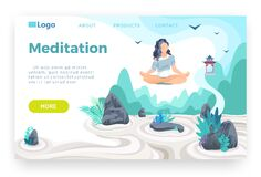 Free Girl Meditating In Lotus Pose And Hovering Above Japanese Rock Garden. Yoga, Life Balance, Relaxation, Mindfulness Stock Images - 175813654