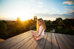 Girl meditating Royalty Free Stock Photo