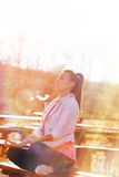 Girl meditating outdoors Royalty Free Stock Photography