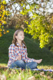 Girl meditating Royalty Free Stock Image