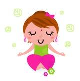Girl meditating and practicing yoga. Cute girl practicing meditation. Vector Illustration Royalty Free Stock Photography