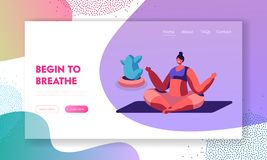 Girl Meditating Sitting in Lotus Pose Doing Yoga Asana or Aerobics Exercise, Sport Life Activity, Woman Healthy Lifestyle. Website Landing Page, Web Page royalty free illustration