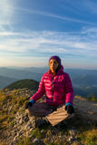 Girl meditating royalty free stock images
