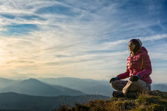 Girl meditating royalty free stock photography