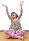 Girl meditating on white background Stock Photos