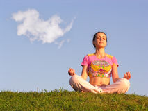 Girl meditation Royalty Free Stock Image