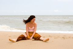 Girl meditation in the beach Royalty Free Stock Images