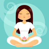 Girl in meditation posture Royalty Free Stock Photo