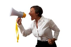 Girl with megaphone Royalty Free Stock Images