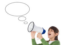 Girl with megaphone. Little girl shouting through megaphone over white background Stock Images