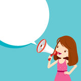 Girl With Megaphone Announcement And Speech Bubble Stock Photos