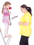 Girl with megaphone and fat mother Stock Photography
