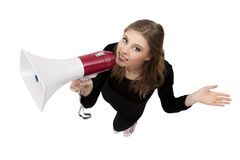 Girl with megaphone Stock Photos