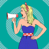 Girl with megaphone  or loudspeaker in pop-art. Style.  Communication announce, shouting announcement, speaker female young. Vintage vector illustration Stock Photo