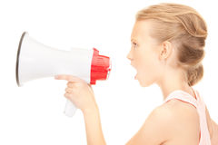 Girl with megaphone Royalty Free Stock Photos