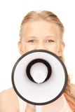 Girl with megaphone Stock Photography