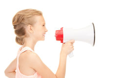 Girl with megaphone Stock Photo