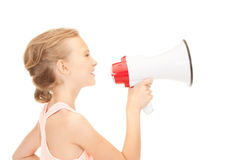 Girl with megaphone Stock Photos