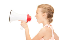 Girl with megaphone. Picture of girl with megaphone over white Stock Photography