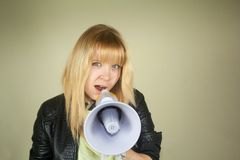 Girl with megaphone Stock Images