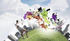 Girl with megaphone Stock Photo