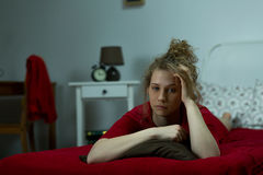 Girl in melancholy alone Stock Photography