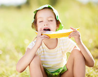 Girl with melon Stock Photo