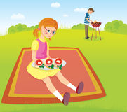 Girl and men on the picnic Royalty Free Stock Images