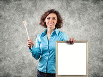 Girl with a menu Stock Images