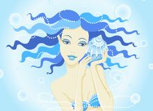 girl mermaid and a cockleshell stock image