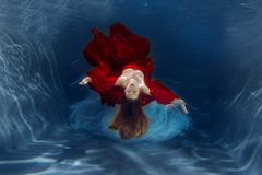 Girl mermaid. Underwater scene. A woman, a fashion model in the Stock Photo