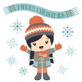 Girl with a merry Christmas banner. Vector illustration of a cute little girl in winter clothes with a scarf banner and merry Christmas text in original script vector illustration