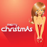 Girl and Merry Christmas Text Stock Illustration Stock Photo