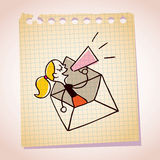 Girl message loudhailer note paper cartoon sketch Stock Photo