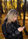 Girl messaging with phone Stock Photography