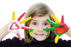 girl with messy hands Royalty Free Stock Image