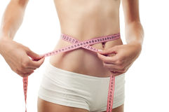The girl is mesuring her waist with measuring type Stock Image