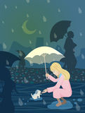 A girl met a dog in rainy night Stock Photography