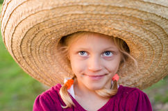 Girl in Mexican hat Royalty Free Stock Photo